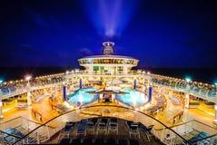游轮划线员甲板夜 免版税库存照片
