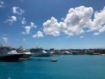 游轮在港加勒比拿骚 库存照片