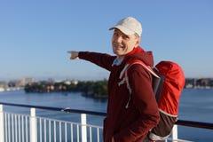 游轮甲板的游人  图库摄影
