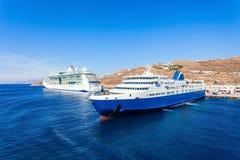 游轮,米科诺斯岛海岛 库存图片