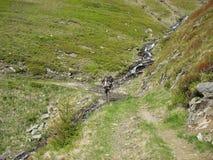 游遍与的背包的山 库存图片