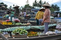 湄公河三角洲的果子卖主,越南 库存图片