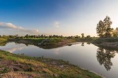 湄公河在Katong寺庙、廊开、泰国假期和长的假日 免版税库存图片