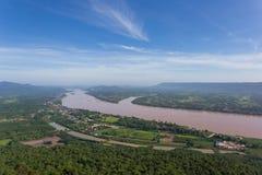 湄公河在Katong寺庙、廊开、泰国假期和长的假日 库存照片