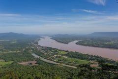 湄公河在Katong寺庙、廊开、泰国假期和长的假日 免版税库存照片