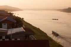 湄公河小船游览 库存照片