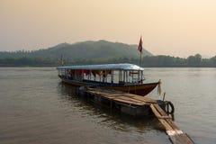 湄公河小船 库存照片