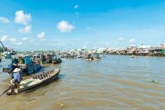 湄公河浮动市场 库存图片