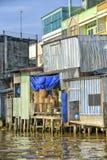 湄公河的五颜六色的房子 免版税库存照片