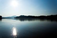 湄公河阳光 库存照片