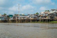 湄公河,越南的银行的议院 免版税库存照片