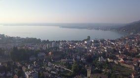 湖从布雷根茨奥地利的康斯坦茨视图 股票视频