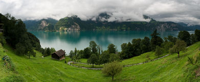 湖全景瑞士urnersee 图库摄影