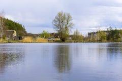 湖全景 库存图片