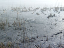 湖冰表面  图库摄影