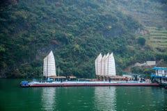 湖北八洞长江巫峡嘴链子Zixi航行 图库摄影
