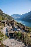 湖北夷陵长江三峡`三峡人` Ba Wang村庄的Dengying夏 库存照片