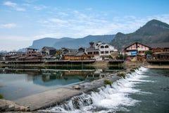 湖南张家界漂浮在水街道的武陵源----小河街道 免版税库存照片