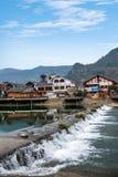 湖南张家界漂浮在水街道的武陵源----小河街道 免版税库存图片