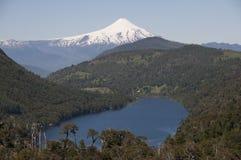 湖和山在森林之间有多雪的火山的 库存图片