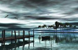 湖和木头船坞 向量例证
