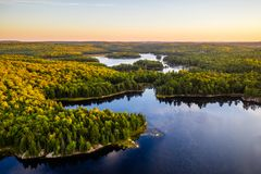 湖和森林在早期的秋天 免版税库存图片