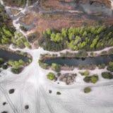 湖和森林在春天 在视图之上 Pogoria IV 免版税库存照片