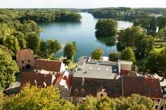 湖和森林在Lagow Lubusz波兰 免版税库存图片