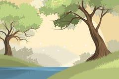 湖和森林场面 免版税库存图片