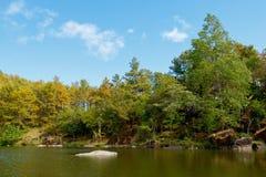 湖和森林有轻的天空的 免版税库存图片