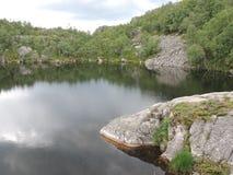 湖和森林的看法 免版税库存照片