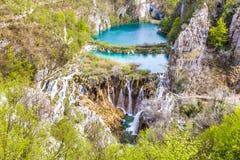 湖和瀑布在Plitvice国家公园 免版税库存照片