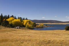 湖和秋天上色叶子亚利桑那 图库摄影