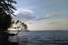 湖和美丽的天空的看法在一好日子在夏天或春天 免版税图库摄影