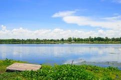 湖和蓝天 免版税库存图片