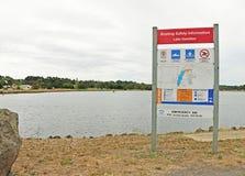 湖哈密尔顿(1977)是供给动力的和非动力的水上艺术使用的38公顷区域 免版税库存图片