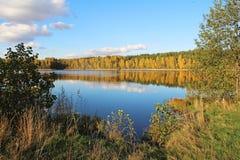 湖在一个令人愉快的秋天森林里晴天 俄国 免版税库存图片