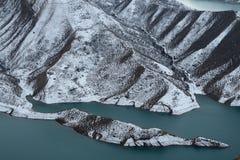 湖在冬天 库存图片