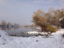 湖在冬天 图库摄影