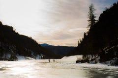 冻湖在加拿大 库存照片