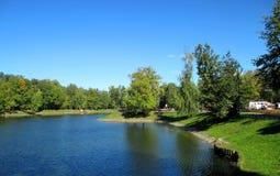 湖在城市公园 库存照片
