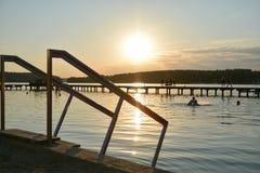 湖在奥尔什丁,波兰 免版税库存图片