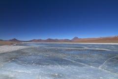 冻湖在安地斯 免版税库存照片