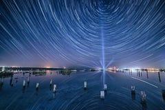湖在晚上 库存图片