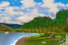 湖在森林 库存例证