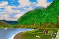 湖在森林 向量例证