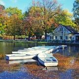 湖在秋天公园 免版税库存图片