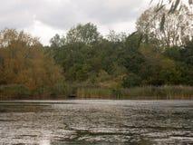 湖在秋天黑暗的阴云密布之外的顶面场面 免版税库存图片