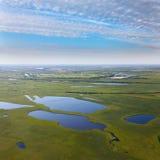 湖在草甸,顶视图 免版税库存图片