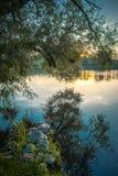 湖在黎明,垂直 库存图片